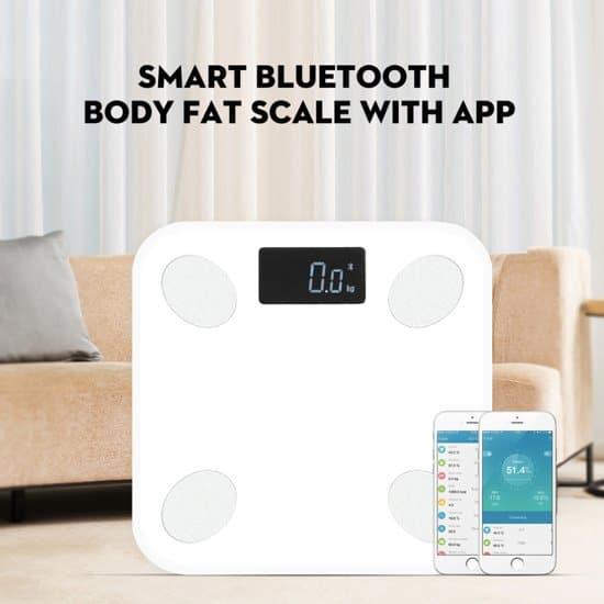 Weegschalen met vetpercentage meter en een app